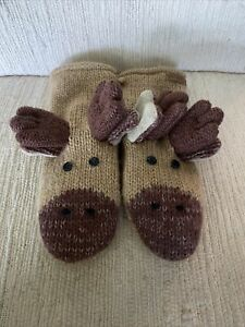 Knitwits DeLux Mittens New Brown Tan moose Wool Animal Gloves, Adult S