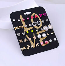 20 Pairs/lots Brincos Mixed Stud Earrings Gift Women Earring Fashion Jewelry