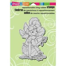 New STAMPENDOUS RUBBER STAMP cling FAIRY FLOWER GIRL Free USA ship