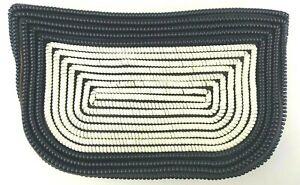 "1940s 50s 10x6"" Telephone Cord Handbag Clutch Purse Coil Phone Navy Cream Rare"