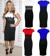 Women Girls Clubwear Lace contrast Pencil Bodycon Party Business Dress UK 8-14