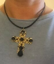 Leather Necklace Cord Braid Choker Gold Crucifix Cross Statement Gothic Rebel