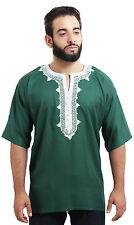 Moroccan Men Tunic Shirt Cafan Casual Handmade Embroidered Cotton Large Green