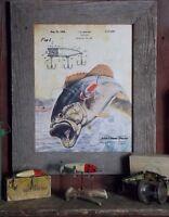 Vintage Fishing Lure Patent Art Print 11x14 Unframed Largemouth Bass Wall Decor