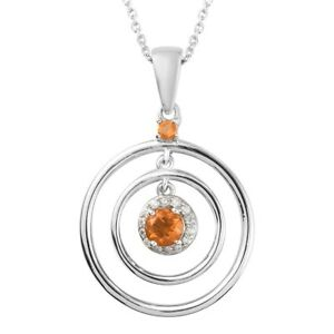 """Platinum Over 925 Sterling Silver Fire Opal Necklace Pendant Size 20"""" Ct 0.6"""