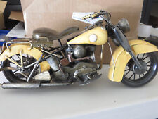 Old Rustic Looking Tin Motorcyle - Old Style Yellow Motorcycle Made of Tin