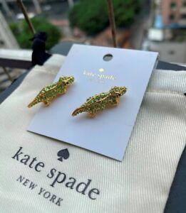 Kate spade 12K Gold-Tone Swamped Pavé Alligator Stud Earrings