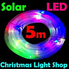 Solar LED Tube Light MULTICOLOUR 5m Flashing Outdoor Garden Christmas RopeLight