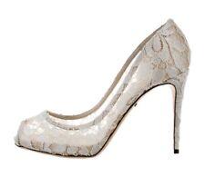 Dolce & Gabbana White Lace Peep Toe Pumps Heels Size 40