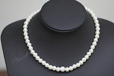 Wedding Party Bridal Faux Pearl Rhinestone Necklace Earrings Set