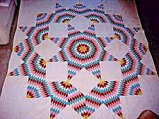 "ANTIQUE QUILT BROKEN STAR 90"" X 84"""
