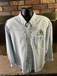 Vintage Green Bay Packers Super Bowl Denim Button Up Shirt Mens Size XXL VTG
