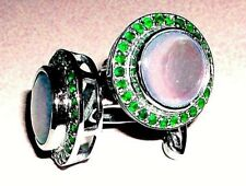 New Fashion 925 Sterling Silver Mother of Pearl & Natural Emerald New Cuff links
