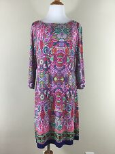 laundry dress L shelli segal long sleeve lined shift geometric pattern slip on