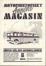 Motorhistoriskt Magasin Annons Swedish Car Magazine 8 1984 Opel 032717nonDBE