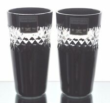2 Waterford Black Cut to Clear Cased Crystal John Rocha Cordial Shot Vodka Glass