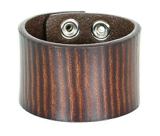 Thick Brown Genuine Leather Snap Bikers Bracelet Punk Gothic Rockabilly 70's