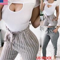 Women's High Waist Casual Long Pants Ladies Pencil Trousers Slim Skinny Leggings