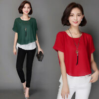 4 Colors Womens Lady Short Sleeves Round Collar Casual Blouses Casual Tops Chic