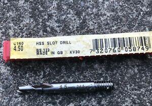 Dormer 4.5mm Slotdrill.  Screwed shank, std. Brand new in Plastic Box