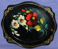 Vintage Russian hand painted floral flowers wood tole tray