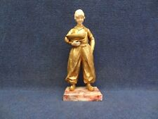 """Art Deco Bronze statue """"DUTCH BOY"""" by SOSSON Mixed material. Boy holding Boat."""