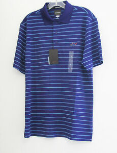 Greg Norman Tasso Elba Mens 5 Iron Stripe Polo Shirt Purple Fever Sz L - NWT