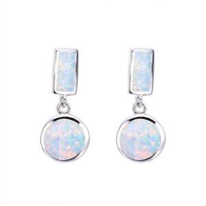 European Fashion Silver Filled White Fire Simulated Opal Ear Stud Earrings Gift