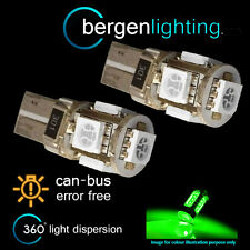 2X W5W T10 501 CANBUS ERROR FREE GREEN 5 LED SIDELIGHT SIDE LIGHT BULBS SL101302