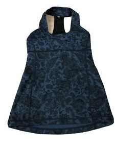 Lululemon Dark Blue Paisley Print Padded Tank Top Size 6?