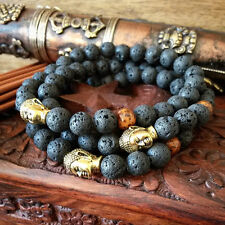 Mens Black Lava Stone Gold Buddha Lucky Beaded Bracelet for Men Mala Bead B15