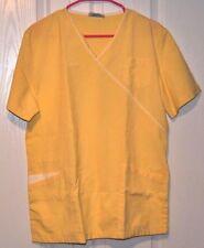 Reina scrub tops, womens, M, solid yellow white trim