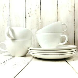 Corning Centura Coffee Cups and Saucers White Set of Four Coupe  1267