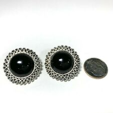 Vtg Taxco Mexico 925 Silver and Onyx Round Clip On Earrings Scroll Edge Sterling