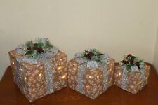 REDUCED! - Set of 3 Light Up Christmas Natural Sisal Parcels with Silver Bow