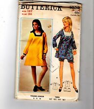 60s Butterick Sewing Pattern 4639 Tent Dress Romper Bloomers 16 Teen