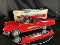 "Bandai Cadillac Red  Covertible 13"" Kingsize Cadillac Metal Toy Excellent - Mint"