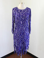 Vtg Laurence Kazar Royal Purple Silk Beaded Sequin Evening Asymmetric Dress S
