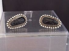 Black Onyx Tribal Mask Earrings Signed Icuala Mexico Sterling & Carved