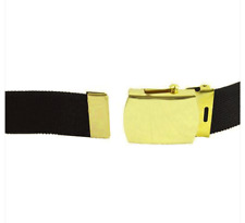 Vanguard ARMY BELT: BLACK ELASTIC WITH BRASS BUCKLE AND TIP EXTRA LONG