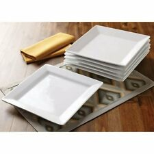 Better Homes and Gardens Square Dinner Plates, White, Set W