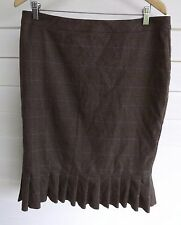 Cue Women's Brown Plaid Skirt with Frill Hem - Size 12