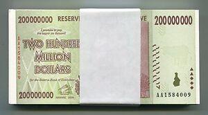 Zimbabwe 200 Million Dollars UNC 2008 AA P81 1/2 Bundle from 100 Trillion Series