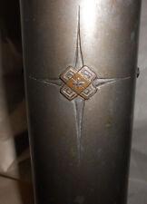 Vintage Signed Eiichi Japanese Bronze Cylindrical Vase Design Motif