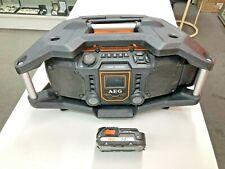 AEG BATTERY + 18V RADIO CHARGER. WORK SITE JSRC18240A USB HYBRID