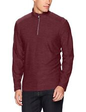 CALVIN KLEIN Top Men's ¼ Zip Space Dye Pullover L/Weight Sweater Tee M Red NWT