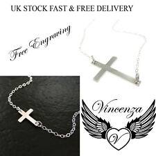 Personalised Women's Horizontal Cross Necklace Gift Pendant Sideways UK Vincenza