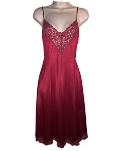 BRITISH VTG 80s SEXY RUBY RED Nylon Full Slip Elegant Ladylike Petticoat UK 14