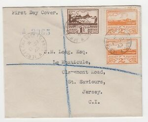 Jersey 1943 2d Blampied (View) stamps on registered cover dated 8.JU.43