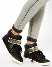 ASOS - New Unworn Black High Top Trainers Plimsolls with Gold Detail Size 4